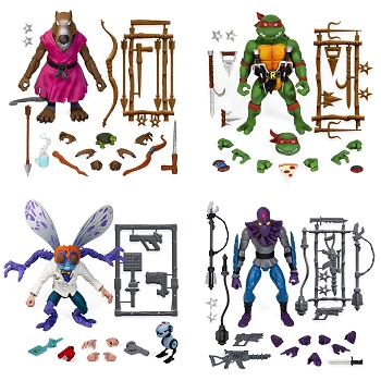Super7 TMNT Ultimates SPLINTER, RAPHAEL, BAXTER, and FOOT SOLDIER Set (Variant)
