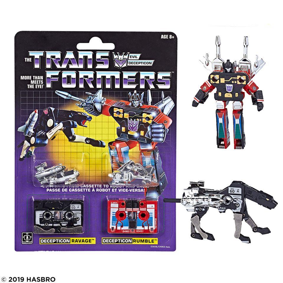 Transformers G1 cassettes Frenzy Rumble laserbeak Ravage réédition