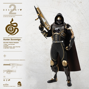 ThreeZero Destiny 2 Hunter Sovereign 1/6 Scale GOLDEN TRACE SHADER